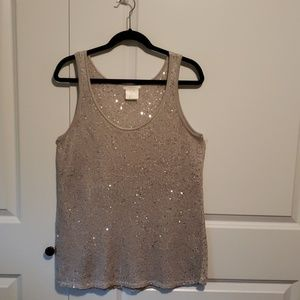 Sequined stretch tank top